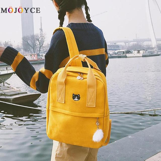 1fe2950f11dd Preppy Style Women Girls Canvas Backpack Teen Vintage Casual Shoulder  School Backpack korean style Rucksack Mochila Feminina
