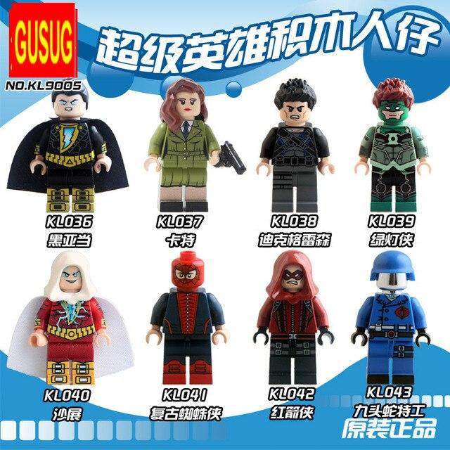 GUSUG 8PCS KL9005 Super Heroes black Adam carter red arrow Green Lantern Hydra agents Building Blocks Baby Toys