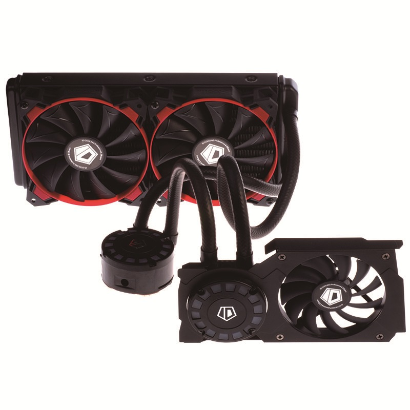 ID-COOLING Hunter Duet-R Integrated Water-cooled CPU+GPU Double-sided Radiator Full Platform Comet Light Effect 240 Red