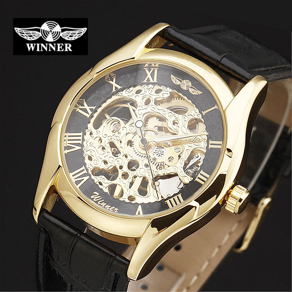self winding watches men hollow promotion shop for promotional winner men s watch automatic self wind watch skeleton watch men gold hollow engraving elegant genuine leather strap watches