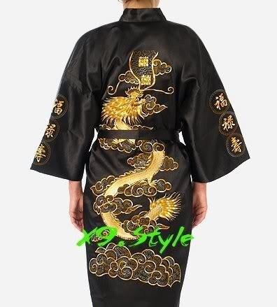 Free Shipping Black Chinese Traditional Men's Silk Satin Robe Embroidery Kimono Bath Gown Dragon S M L XL XXL XXXL S0011