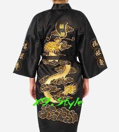 送料無料黒中国の伝統的なシルクサテンローブ刺繍着物バースガウンドラゴン SML XL XXL XXXL S0011