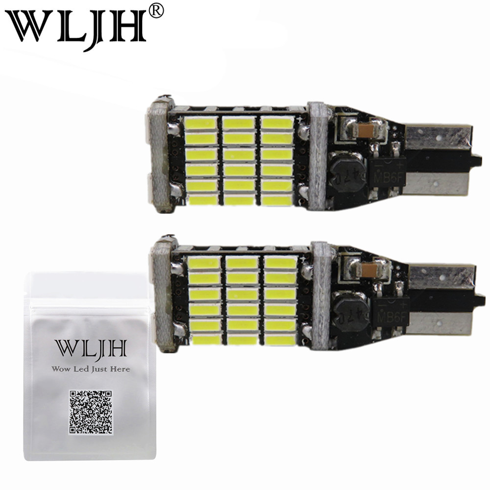 WLJH 2x Canbus 15w 4014 SMD W16W Led T15 921 Auto Backup Light Reverse Lamp Bulb For For Nissan Juke 2011 2012 2013 2014 2015 wljh 2x canbus 20w 1156 ba15s p21w led bulb 4014smd car backup reverse light lamp for bmw 228i 320i 328d 328i 335i m3 x1 x4 2015