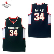 1cf0d9f6475 Men s  34 Ray Allen Connecticu Jersey Connecticut College Throwback  Basketball Jerseys Size S-XXL Free Shipping