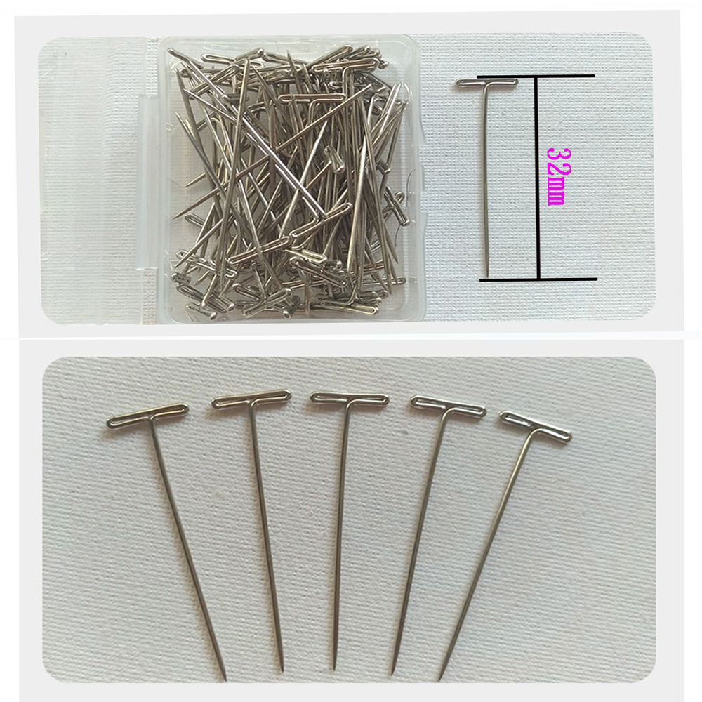 100pcs/lot T Pins For Craft Jewelry Knitting Sewing Crafting T-pins  For Holding Wigs Display On Canvas Head