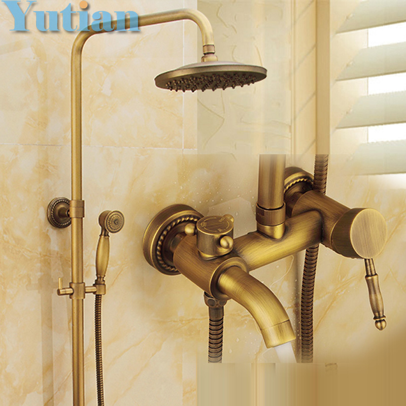 Wall Mounted Mixer Valve Rainfall Antique Brass Shower Faucet Complete Sets + 8 Brass Shower Head + Hand Shower + Hose YT-5337 wholesale and retail wall mounted thermostatic valve mixer tap shower faucet 8 sprayer hand shower