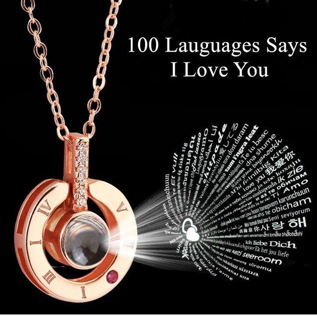 Presente para namorada 100 Idiomas Diz EU Te amo Colar de Projeção do presente do dia Dos Namorados presente