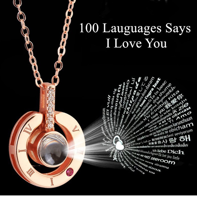 Regalo para novia 100 idiomas dice que te amo collar de proyección regalo del Día de San Valentín presente