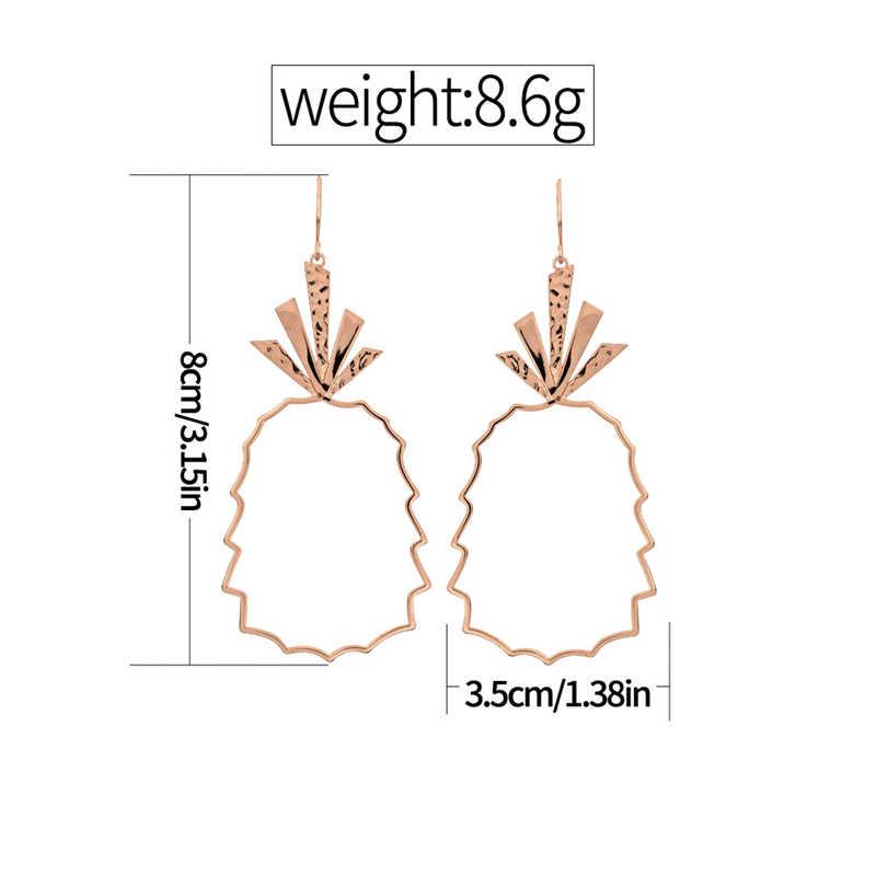 1 זוגות אופנה זרוק עגילי נשים בוהמיה אננס חלול עגילי מתכת סגסוגת Vintage גיאומטרי תכשיטי זרוק עגילים