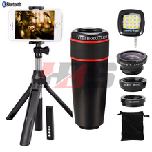 Buy New Phone Camera lens Kit 8X Zoom Telephoto Lenses Telescope Fish eye Wide Angle Macro Lentes For Cell Phone Mobile Tripod Clips