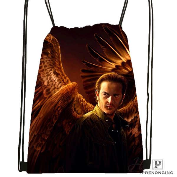 Custom Supernatural@1   Drawstring Backpack Bag Cute Daypack Kids Satchel (Black Back) 31x40cm#20180611-02-90