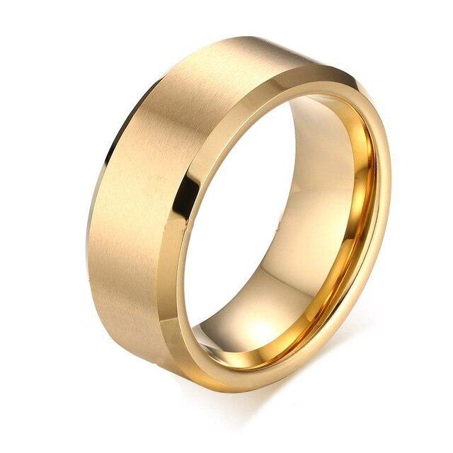 Tungsten 8mm Gold IP Tungsten Carbide Comfort Fit Wedding Engagement Band Ring KKKjdhRuP