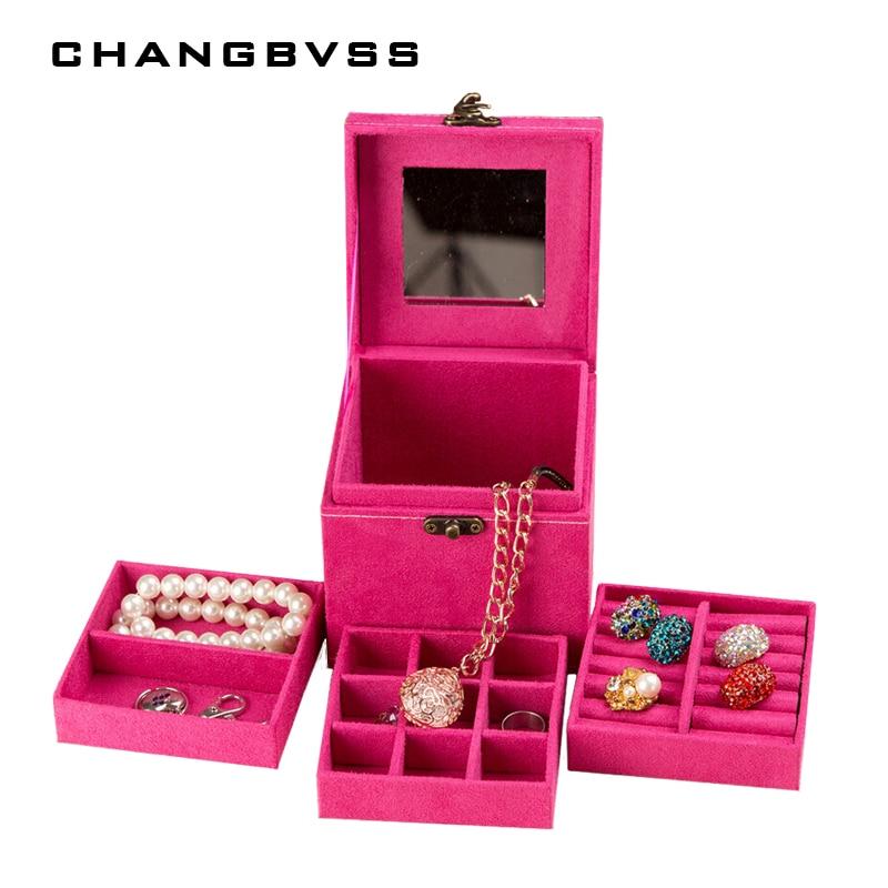 Ювелирная упаковка шкатулка коробка для кольца Цепочки и Ожерелья Жемчуг Организатор Контейнер для хранения ювелирных изделий Коробки Выпускной подарок на день рождения