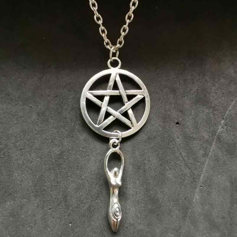 Pentagram&Goddess Mother Earth Necklaces Design Necklace For Women Men Charms Wiccan Pagan Pendant Choker Collier Bijoux Jewelry