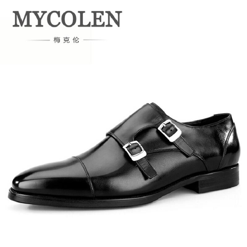 MYCOLEN Men Shoes Business Luxury Brand Genuine Leather Black Formal Dress Double Buckle Straps Wedding Shoes Zapatos Hombre fashion luxury mens patent leather shoes genuine leather black formal men dress shoe for wedding party buckle business high heel
