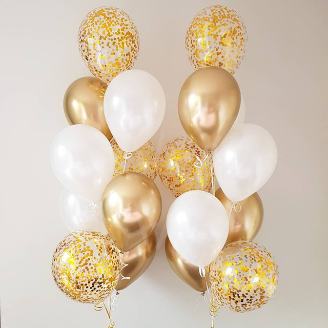 18pcs/lot 12inch Metallic Chrome Confetti Latex Balloon Baby Bridal Wedding Red Heart Bubble Helium Balls Party Decor Balaos