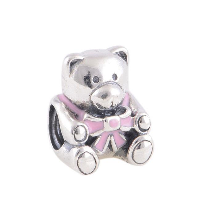 Rosa Bowknot Urso Encantos de Prata Esterlina 925 Encantos para Fazer Jóias Moda DIY Acessórios Caber Pan Pulseiras Marca Charme