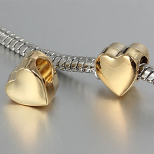 free shipping 1pc 2017 golden heart charms Bead Fits European Pandora Charm Bracelets & Necklaces CA008(China)