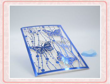 Laser cut butterfly wedding decorative invitation cards 5*7inch puberty ceremony invitation cards