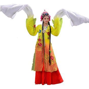 Chinese Peking Opera Dance Costume Classical Folk Dance wear flower pattern ancient style women dress long sleeve stage outfit