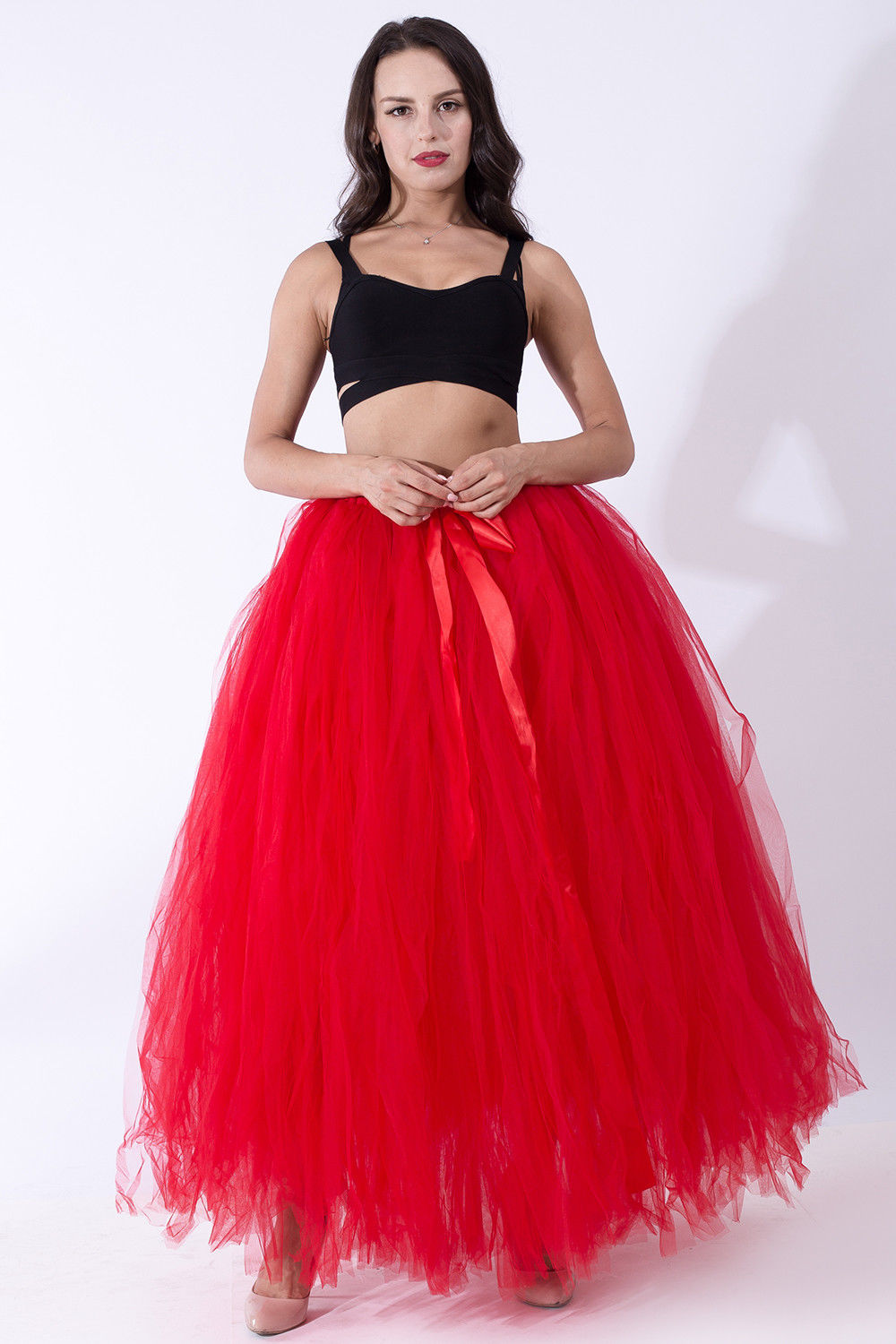 Купить с кэшбэком Pink Long Petticoat Wedding Prom Ball Gown Underskirt Layers Tulle Tutu Skirt Crinoline Party Costume Wedding Accessories