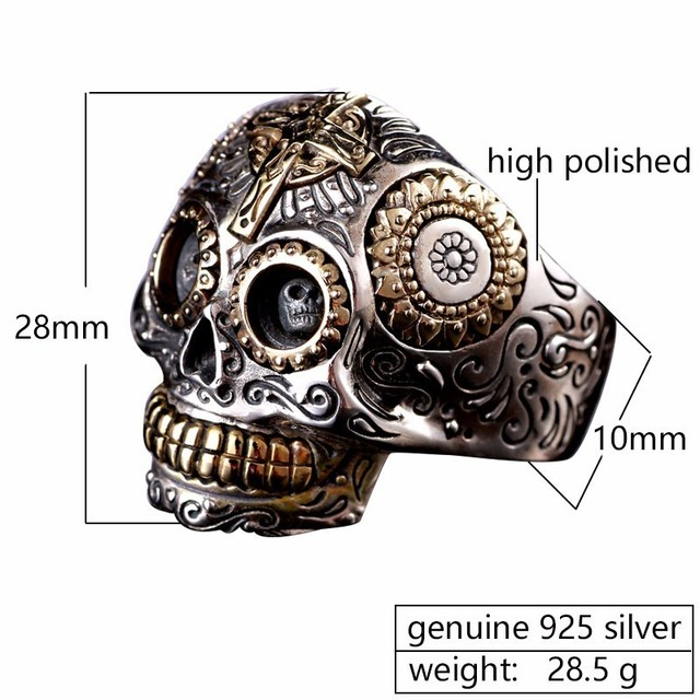 Solid 925 Sterling Silver Vintage Skull Ring 1