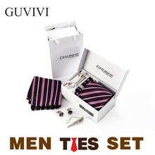 GUVIVI 2016 Fashion Business Striped Neck Tie Set For Men Bolo Wedding Handkerchief Casual Silk Ties Gravata Corbatas Cravate