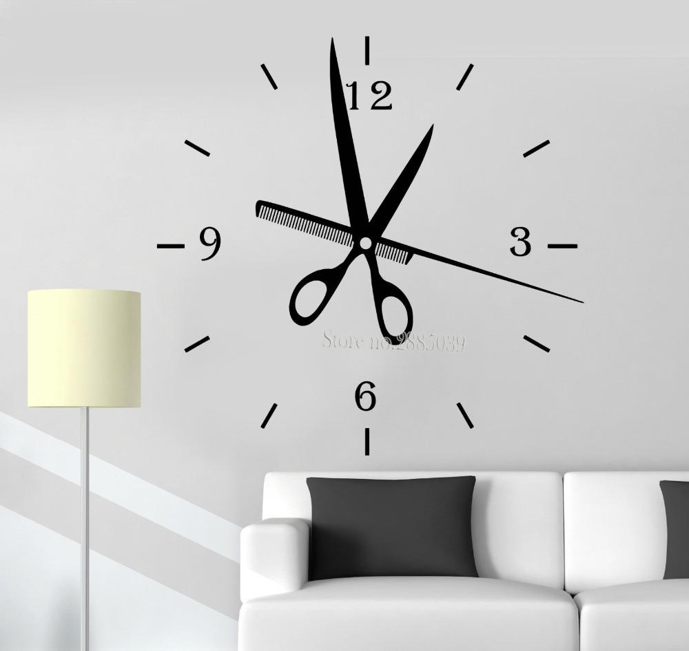 Newest creative wall decals hair salon clock fashion watches big newest creative wall decals hair salon clock fashion watches big wall clock sticker diy livingroom decor barbershop style la453 in wall stickers from home amipublicfo Gallery