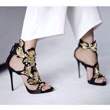 Золотой лист украшен вырезы на высоких каблуках сандалии на лето сияющий кристалл назад молния стилет каблук платье обувь с девушкой для па