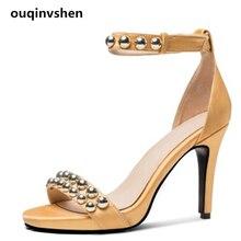 Ouqinvshen Rivet Shoes Woman Sandals Platform Silk Exposed toe Thin Extreme High Heels Fashion Yellow Summer Sandals 7CM 9.5CM