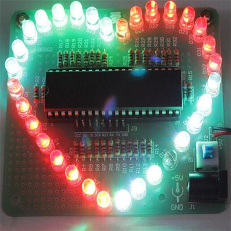 DIY Electronic Kit Heart Shape Colorful LED Module Love Water Light STC89C52 Par