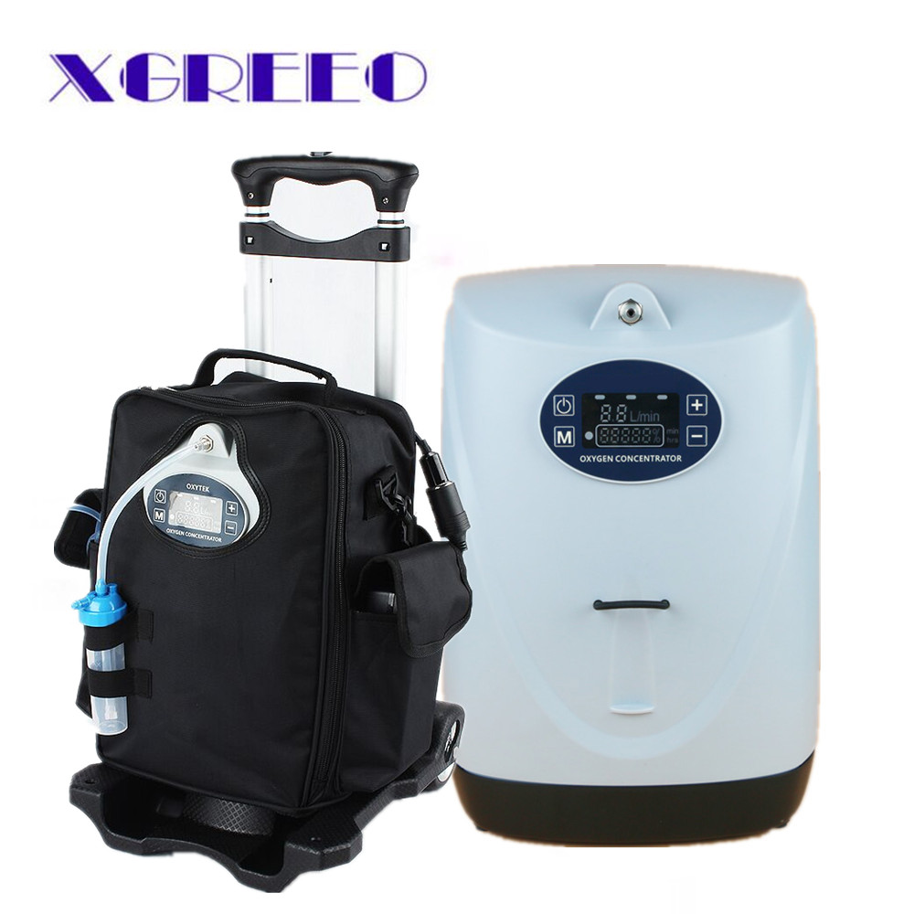 XGREEO BATTERY PORTABLE OXYGEN CONCENTRATOR GENERATOR oxygen making machine for HOME/CAR/TRAVEL with cart oxygen tank xgreeo 6l home use medical portable oxygen concentrator generator oxygen making machine oxygenation machine 110v 220v