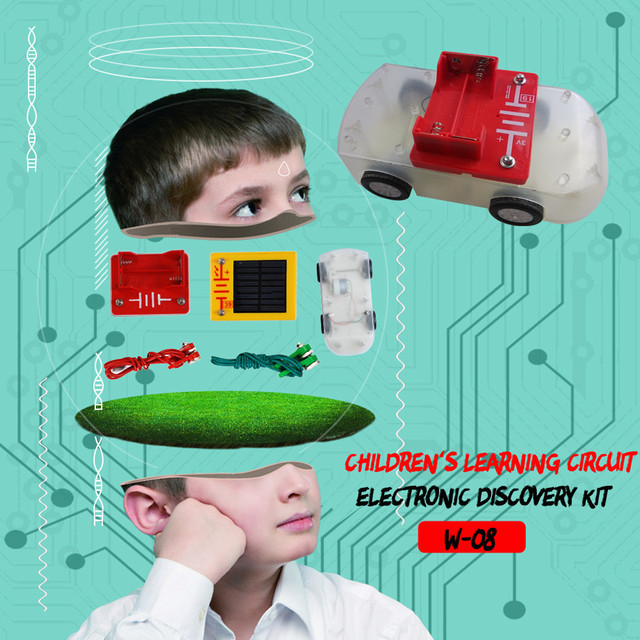 kids toys for boys girls solar toy car diy W-08 Solar DIY Variable Building Blocks Vehicle Electronic Discovery Kit car gadgets 6