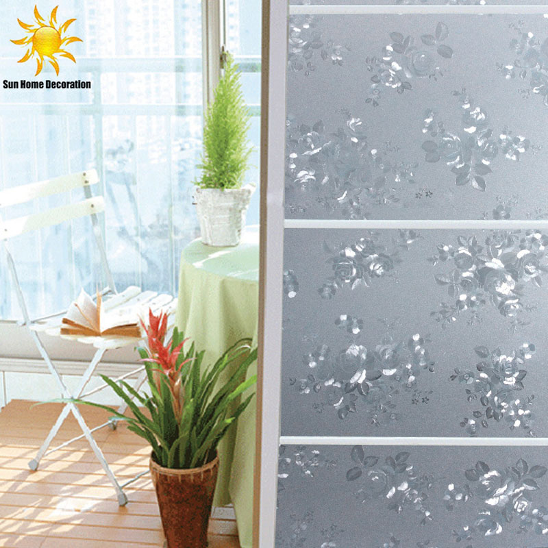 Translucent sunscreen patterned peony electrostatic glass for Decoration porte adhesive