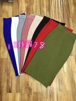 High Quality Solid Color Ladies HL Bandage Skirt Mid calf Pencil Bodycon Skirt