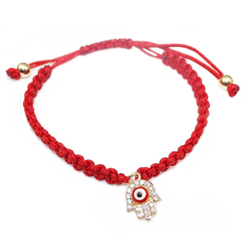 Handmade Braided Rope Bracelets Red Thread Turkish Jewelry Crystal Hamsa Hand Charm Bracelets Bring Lucky Peaceful Bracelets 22