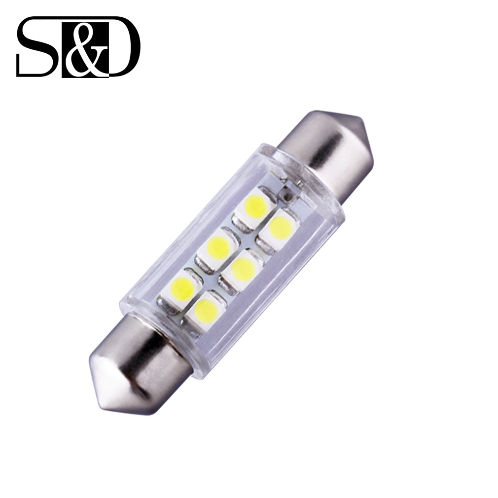 39mm 6 SMD  White Dome Festoon LED Bulb Lamp parking 12V Auto c5w led car bulbs interior Lights Car Light Source 2pcs festoon led 36mm 39mm 41mm canbus auto led lamp 12v festoon dome light led car dome reading lights c5w led canbus 36mm 39mm