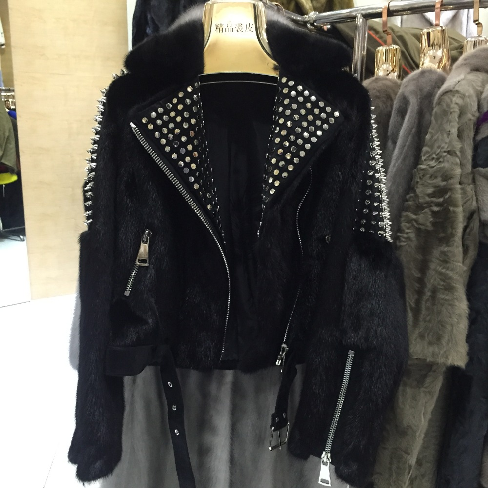De Conception Cross black 2018 Femmes Vison Femme Manteau Rivet Supérieure Luxe Hiver Réel Mode Qualité Pour Fourrure Avec CxTqtaCZn