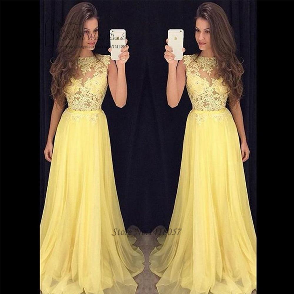 f8ae01ee3e Abendkleider 2017 vestidos de Baile de graduación de Encaje amarillo vestidos  de noche largos baratos de chifón Formal vestido de desfile para graduación  ...
