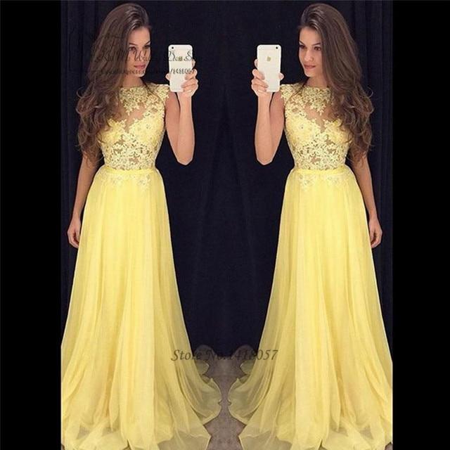 49c9cb0fd Abendkleider 2017 vestidos de Baile de graduación de Encaje amarillo  vestidos de noche largos baratos de