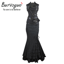 Burvogue 2017 New Women Sexy Waist Control Corsets And Bustier Top Gothic Corset Dress Slimming Overbust Steampunk Dress