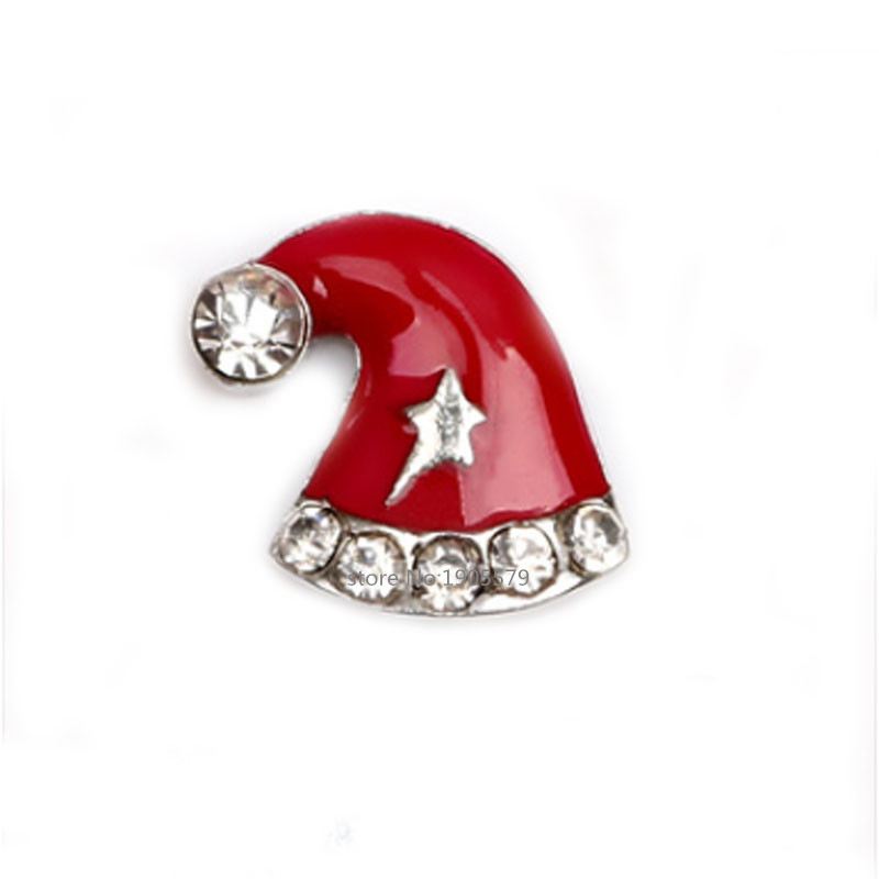 New arrival Enamel Christmas Charms, Crystal Christmas Hat Charms for Floating Locket for Christmas gift MFC1801