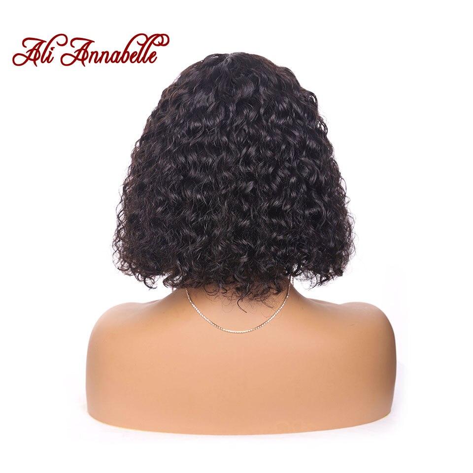 Парики из натуральных волос на кружевной основе, перуанские волосы с глубокой волной, короткие волосы, парик с предварительно выщипанными волосами, 150% плотность волос, парики - 6
