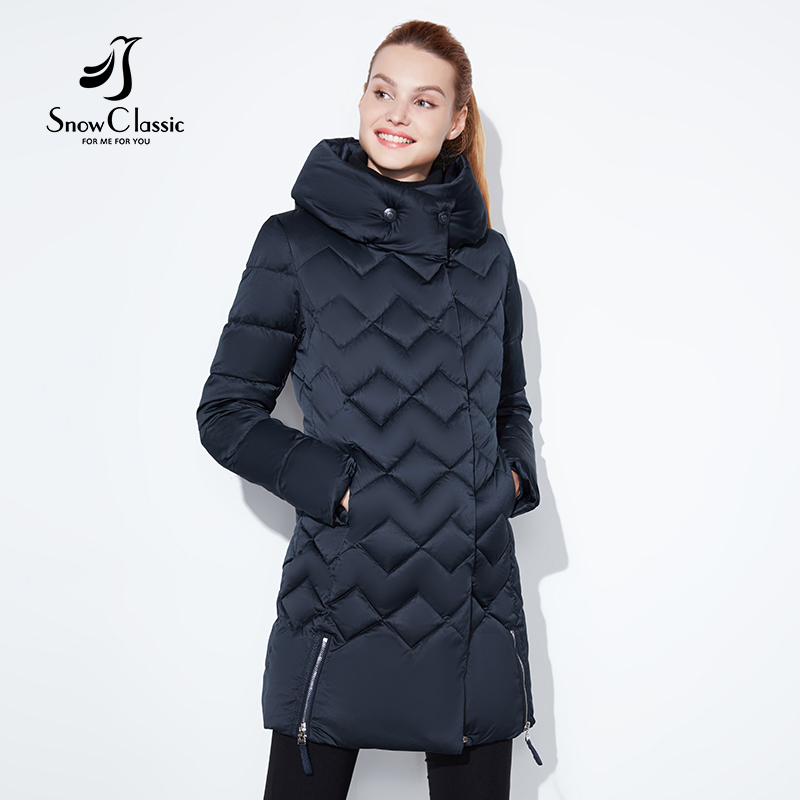 SnowClassic winter jacket women Thin short parka Hood coats luxury outerwear Argyle jacket female over solid winter coats 2018