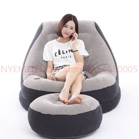 Flocking inflatable lazy sofa bed single sofa nap lounge modern simple bedroom chair with pedal,footstool bean bag chair 5pcs