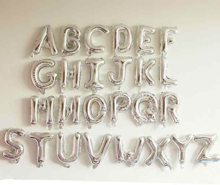 10inch Small Size Silver Alphabet foil balloons letters ballons silver for birthday wedding mariage party decoration baby shower