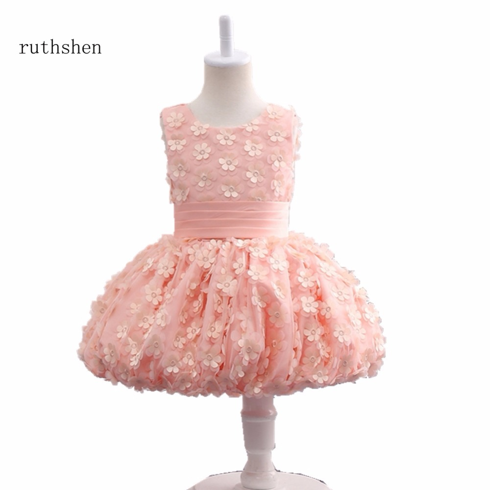 ruthshen Princess Pink 2018   Flower     Girl     Dresses   For Weddings Ball Gown Tulle   Flower   Gilr   Dresses   For Special Occasions