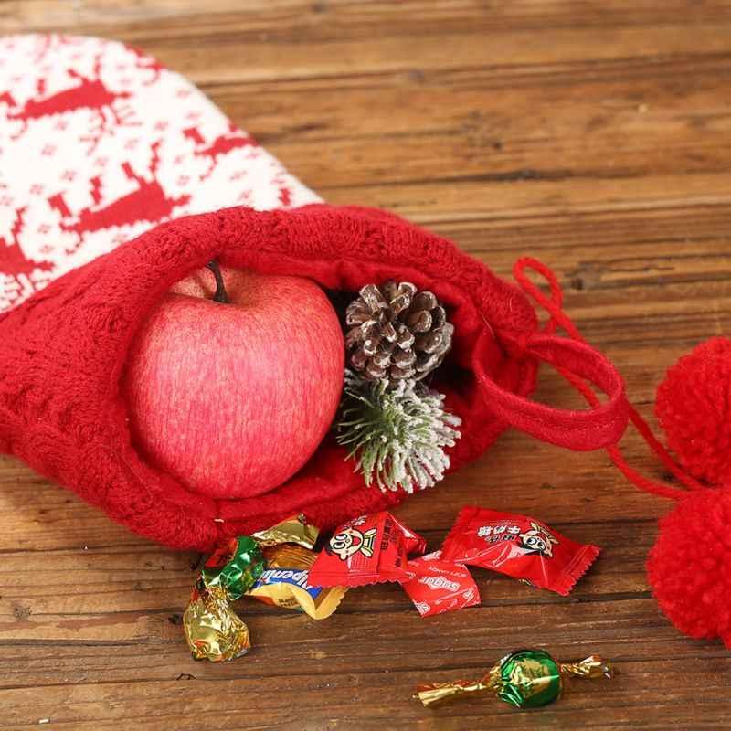 Милые снежинки олень вязаные рождественские чулки Рождество Дерево Висячие Конфеты Подарочная сумка фестиваль праздничный декор украшения