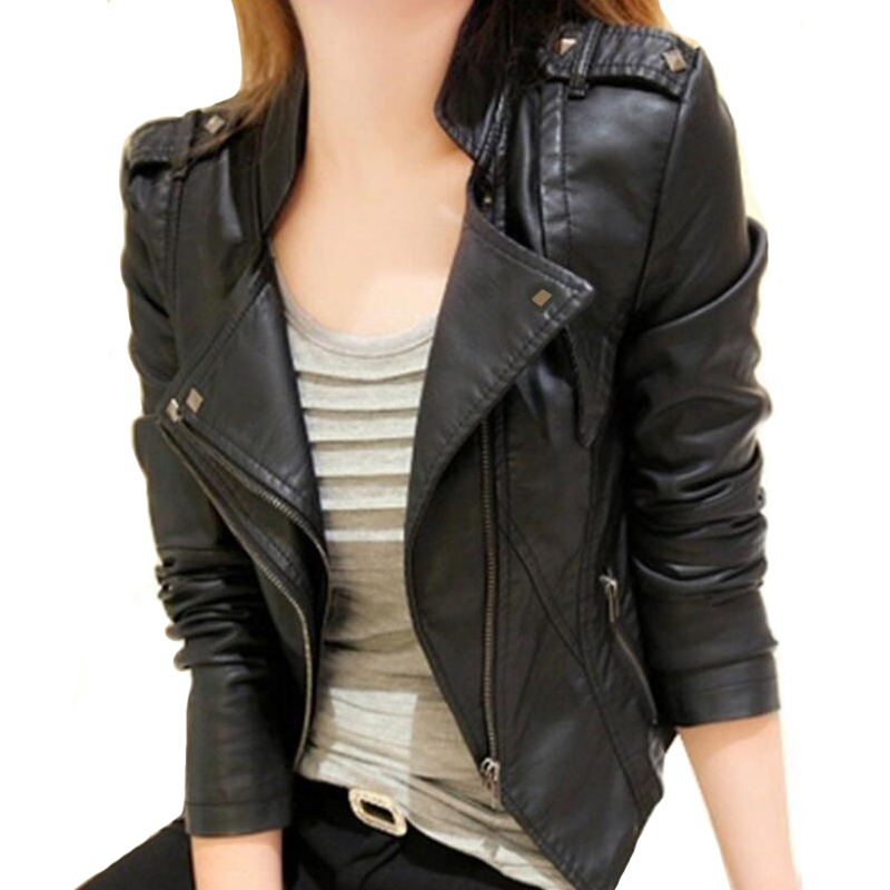 2019 Women Leather Jacket Solid Color Black Wine Red Classical Female Leather Coat Outwear Autumn Jackets