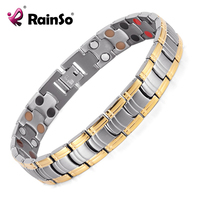 Rainso Fashion Jewelry Men Bracelets Bio Double Row 4 Elements Energy Titanium Magnetic Bracelet Men Best
